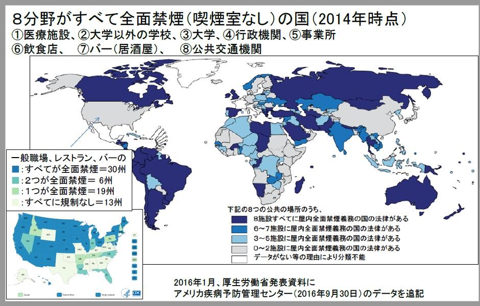 日本全国の屋内で全面禁煙が必要だ