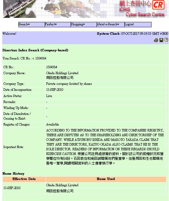 ユニバーサル社の親会社の株主・役員はだれか、登記に注意書き